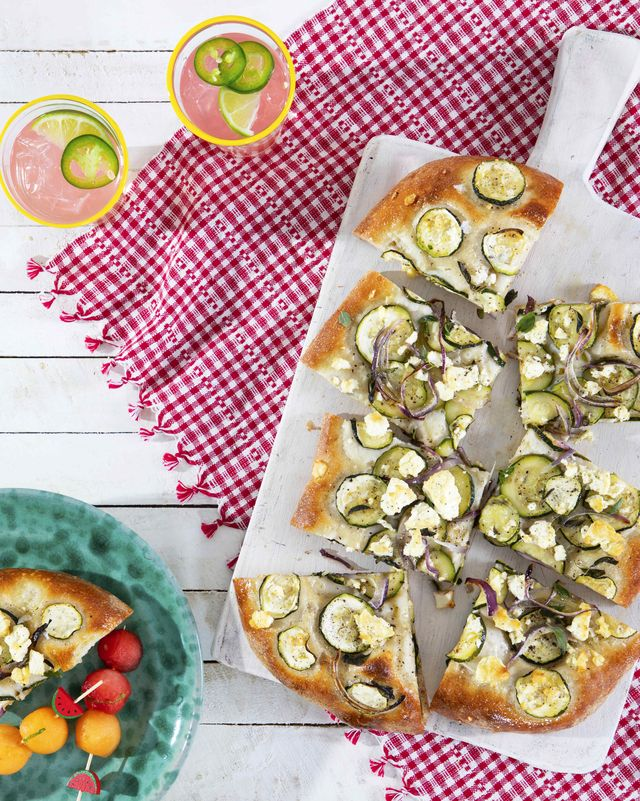 feta, zucchini, and oregano flatbread