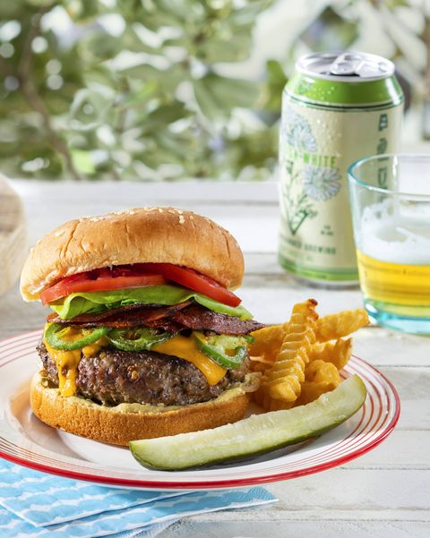 beef burgers with jalapeños, cheddar, and crispy pepperoni