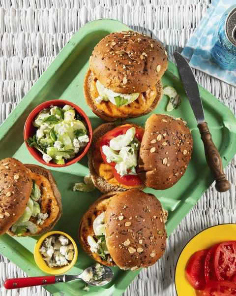 turkey burgers with blue cheese–celery slaw