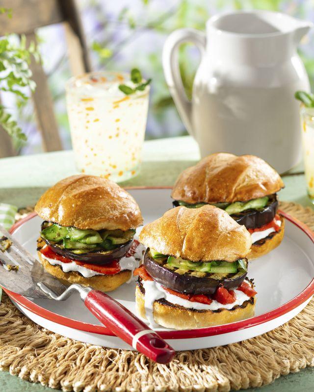 eggplant burgers with yogurtfeta sauce and quick pickled cucumbers