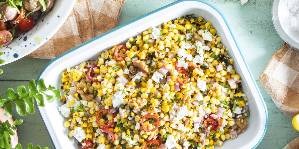 Grilled Corn Salad with Feta, Walnuts, and Shallot
