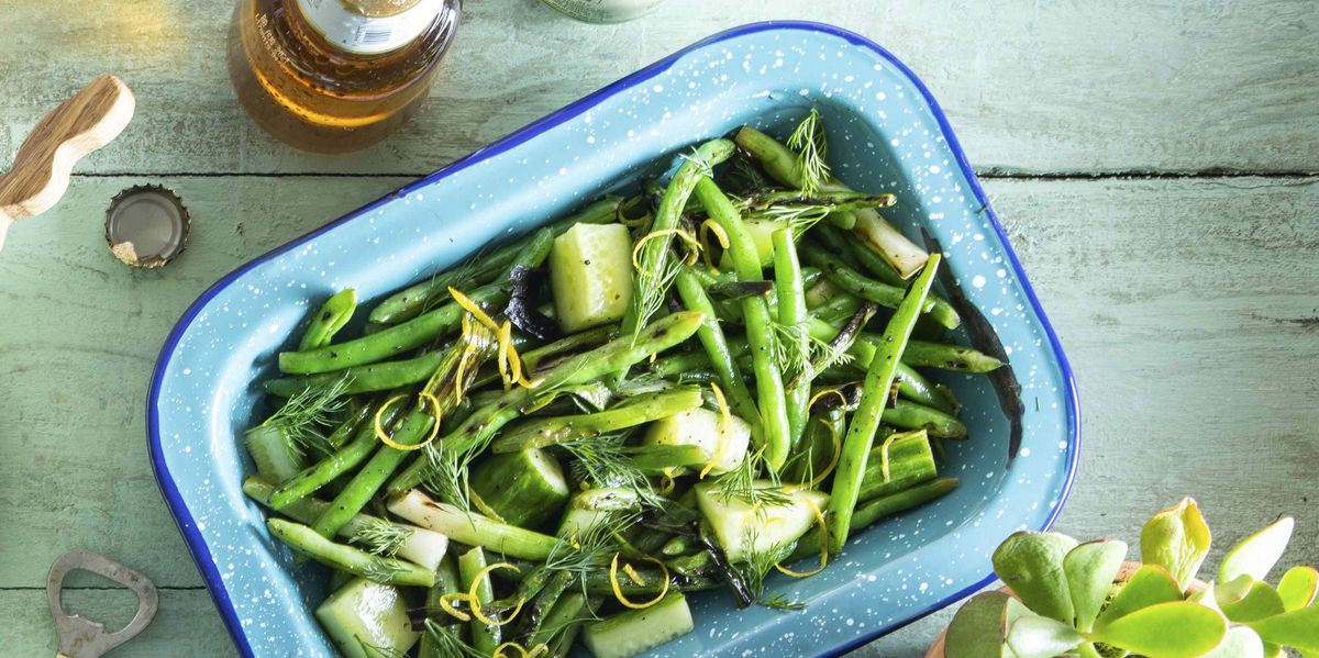 Grilled Green Bean Salad with Cucumbers and Dill