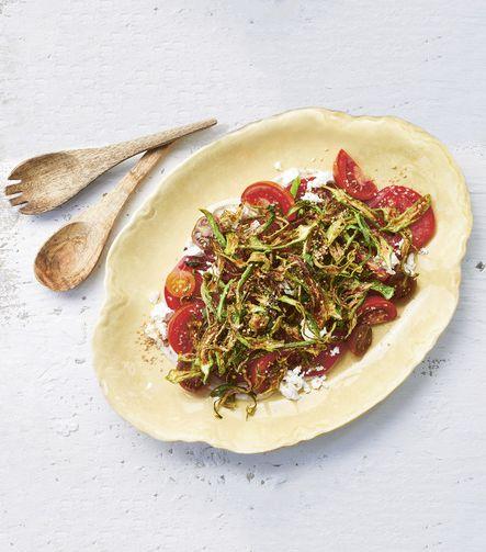 a low country shrimp boil chef whitney otawka crispy okra and tomato salad