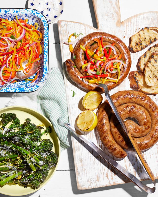 sausage pinwheels with marinated peppers and grilled broccolini