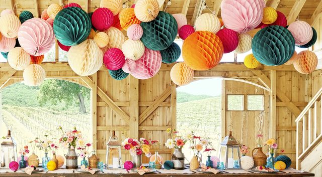 decoration, party, birthday party, yellow, turquoise, event, table, interior design, room, baby shower,