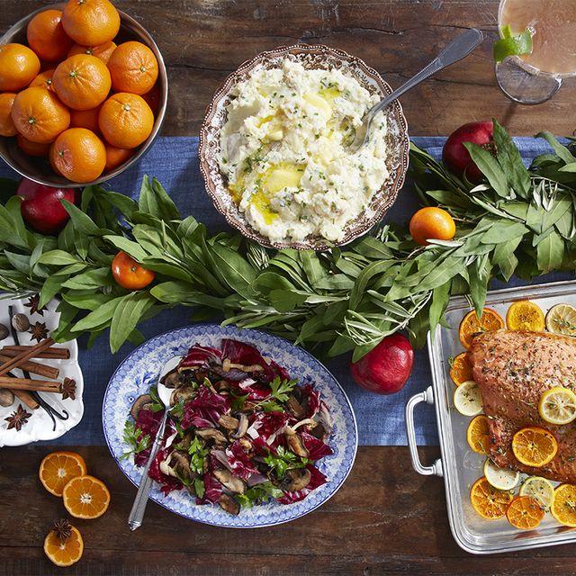 citrus roasted salmon, mashed potatoes and roasted mushrooms and radicchio