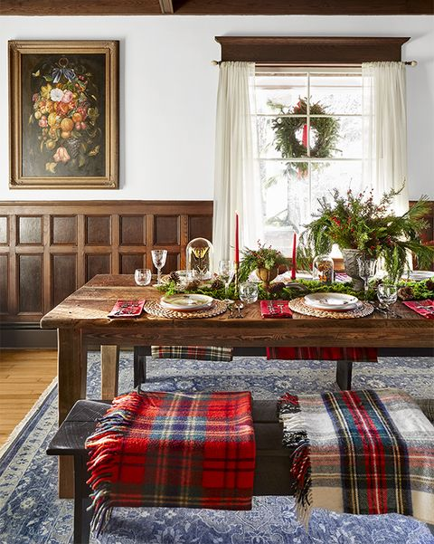 farm table set for christmas