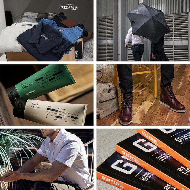 collage showing a stack of gear patrol magazine issue fourteen man carrying a blunt umbrella stack of revtown denim and shirts hawthorne stack of lotion, milwaukee boot co boots and man wearing olivers apparel shirt