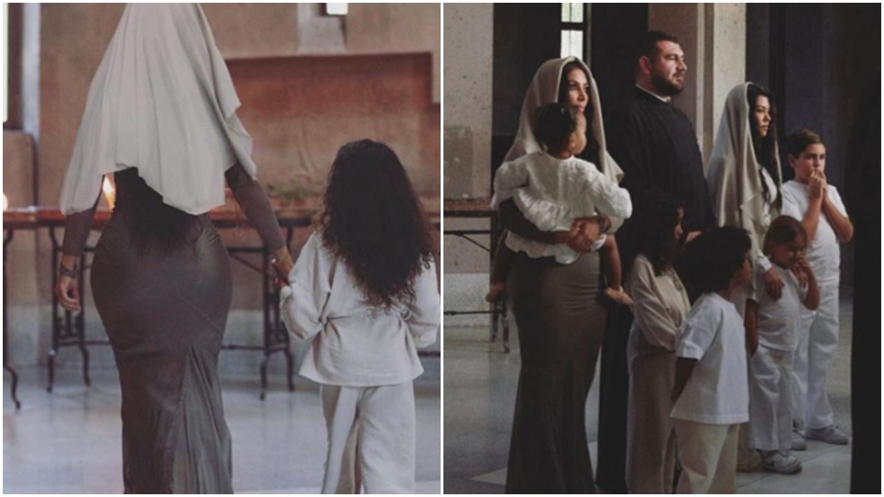 Kim Kardashian Is Getting Dragged for Wearing a Bodycon Dress to Her Baptism