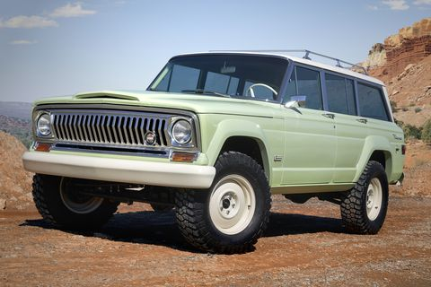 Land vehicle, Vehicle, Car, Automotive tire, Jeep, Sport utility vehicle, Tire, Jeep wagoneer, Bumper, Classic car,