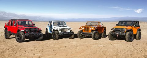 the jeep® brand and jeep performance parts team again join forces to create a lineup of custom built concept vehicles to conquer the iconic trails in moab, utah, during the 2021 easter jeep safari enthusiasts from all over the world will gather march 27 to april 4 in moab for picturesque trail rides, technical off roading and have a chance to experience the jeep brand's legendary 4x4 capability firsthand with four new concept vehicles, including left to right jeep red bare, jeep magneto, jeepster beach and jeep orange peelz