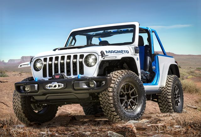 the jeep® wrangler magneto concept is a fully capable bev that is stealthy, quiet, quick and an unmistakable rock climbing force jeep brand engineers and designers have created a zero emission vehicle with jeep 4x4 capability that provides new levels of efficiency, environmental responsibility, and performance on  and off road