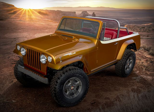 """this year's jeep®""""resto mod"""" is a throwback to the second generationjeepsterthe jeepster beach concept started as a 1968 jeepster commando c 101 and was seamlessly blended with a 2020 jeep wrangler rubiconthe body was modified and the exterior fuses original chrome trim with an updated,brightly colored two tone paintschemeof hazy ipa and zinc oxidewhile the jeepster beach maintainsthe outward appearance of a vintage jeepster, it commands peakperformanceboth on  and off road delivered by the modern day jeep wrangler"""