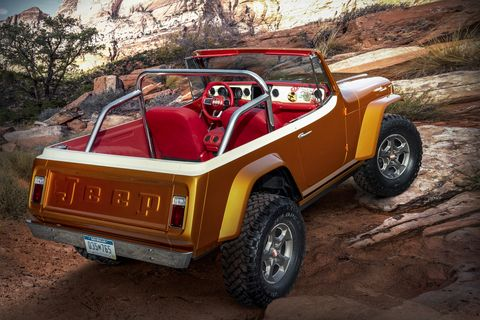 "this year's jeep® ""resto mod"" is a throwback to the second generation jeepster the jeepster beach concept started as a 1968 jeepster commando c 101 and was seamlessly blended with a 2020 jeep wrangler rubicon the body was modified and the exterior fuses original chrome trim with an updated, brightly colored two tone paint scheme of hazy ipa and zinc oxide while the jeepster beach maintains the outward appearance of a vintage jeepster, it commands peak performance both on  and off road delivered by the modern day jeep wrangler"