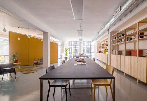 Lighting, Floor, Interior design, Room, Architecture, Table, Ceiling, Furniture, Hall, Flooring,