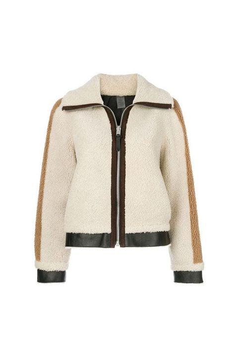Clothing, Outerwear, Jacket, Beige, Sleeve, Fur, Coat, Hood, Blazer, Leather jacket,