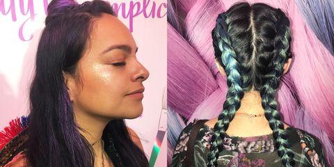 Hair, Hairstyle, Black hair, Long hair, Eyebrow, Hair coloring, Beauty, Artificial hair integrations, Human, Cornrows,