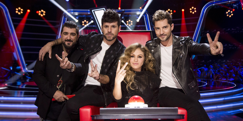 Antonio Orozco, Pablo López, Paulina Rubio y David Bisbal en 'La Voz'