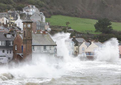 Coastal village during storm