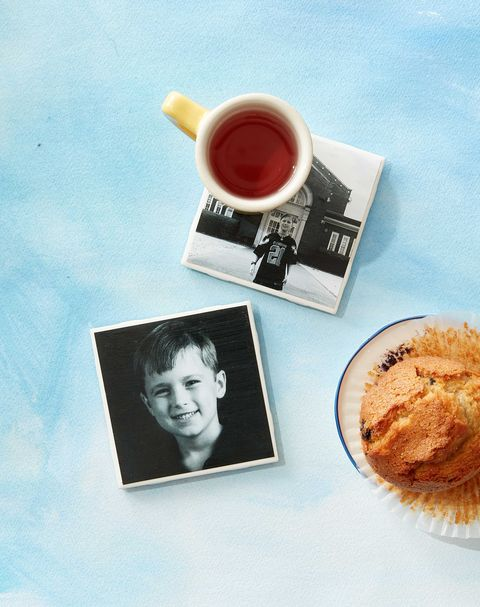 Photo coasters with a mug of tea and muffin