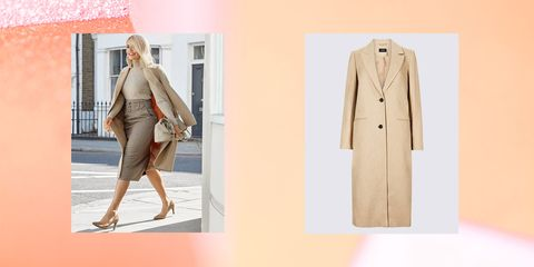 Clothing, Coat, Overcoat, Trench coat, Outerwear, Pink, Fashion, Beige, Footwear, Blazer,