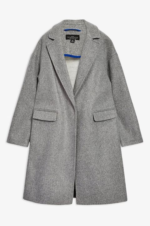 grey wool topshop coat with concealed buttons
