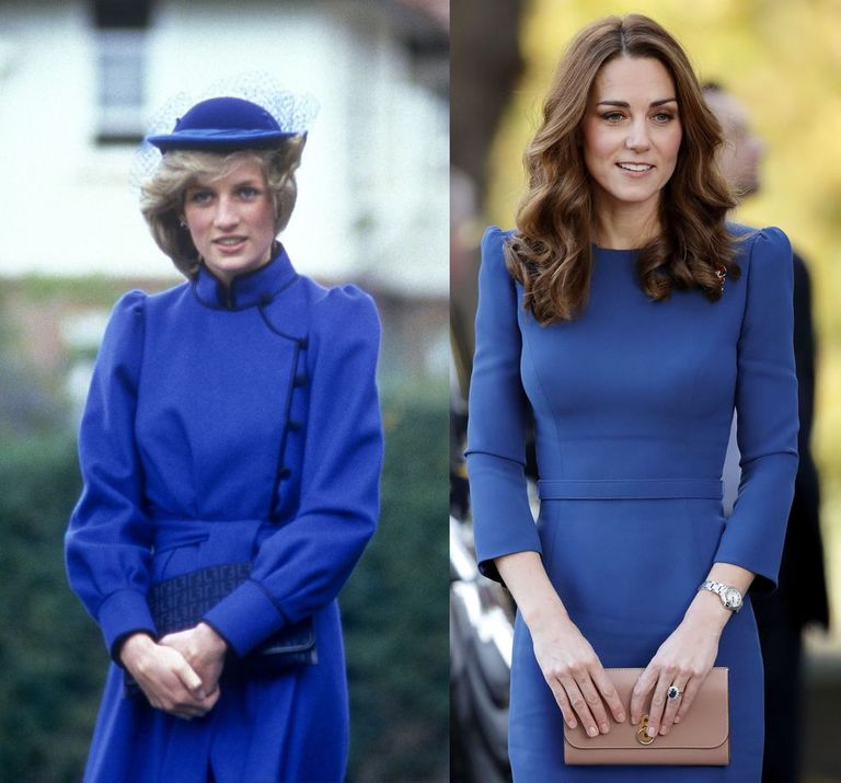 Diana in a royal blue dress with pin-tucked sleeves while visiting New Zealand in April 1983; Kate in a Jenny Packham dress while visiting the Imperial War Museum on October 31, 2018.