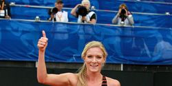 Emma Coburn after breaking the U.S. steeplechase record