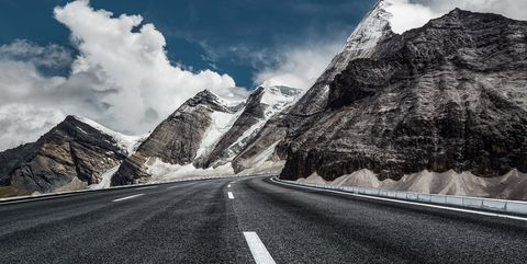 Mountainous landforms, Mountain, Sky, Cloud, Road, Asphalt, White, Black, Natural landscape, Black-and-white,