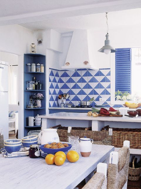 Room, Blue, Interior design, Furniture, Yellow, Orange, Kitchen, Property, Home, Living room,