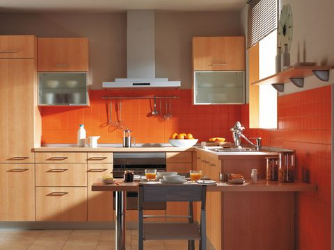 Countertop, Cabinetry, Furniture, Kitchen, Room, Orange, Property, Interior design, Cupboard, Kitchen stove,