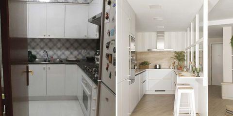 una cocina abierta y con mucha luz antes y después