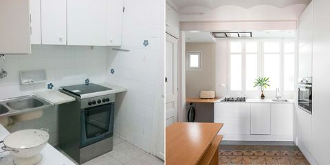 cocina pequeña reformada antes y después