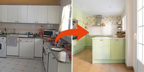 Cocina de estilo campero antes y después