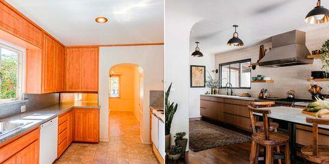 cocina de estilo mid century y rústico antes y después