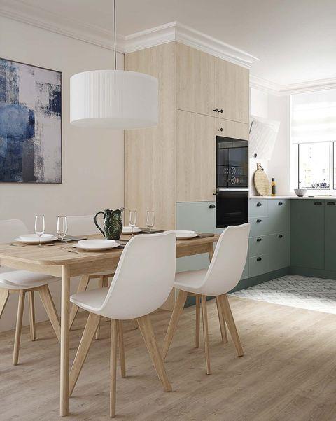 cocina con comedor en madera y verde