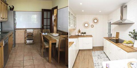 cocina con office en blanco y madera antes y después