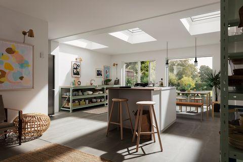Cocina con ventanas VELUX en el techo