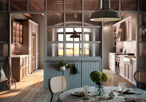 cocina rústica de estilo colonial y romántico