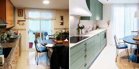 una cocina de estilo provenzal, antes y después