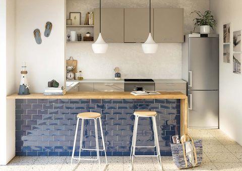 cocina mini abierta con estilo moderno y barra de desayunos