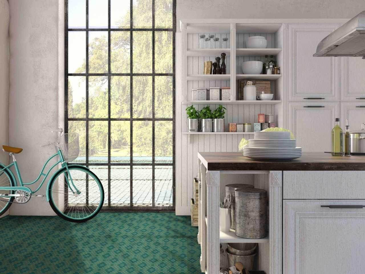 Cocina revestida con mosaico de vidrio ecológico