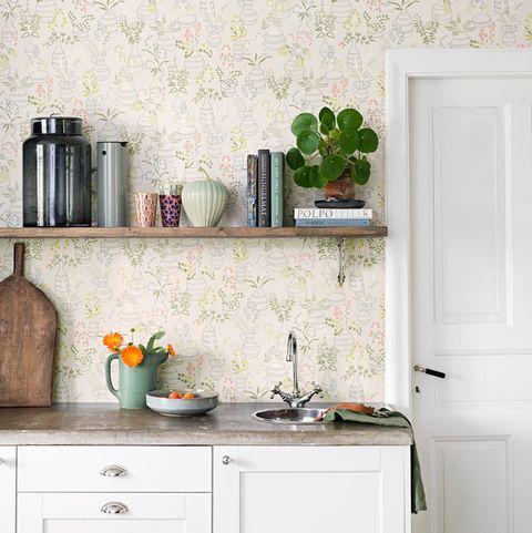ideas decoración con papel pintado en las paredes de la cocina