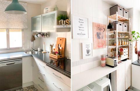 cocinas pequeñas bien organizadas con espacios de almacenaje