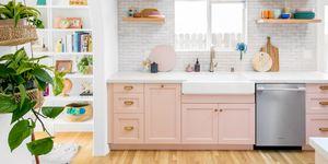 Cocina de color rosa pastel
