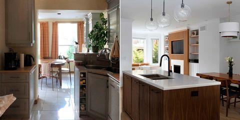 cocina moderna abierta antes y después