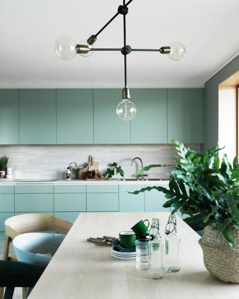 10 cocinas decoradas en color verde - Cocina verde agua ...