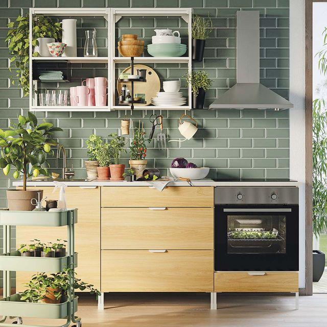 orden en la cocina cocina verde con muebles de madera