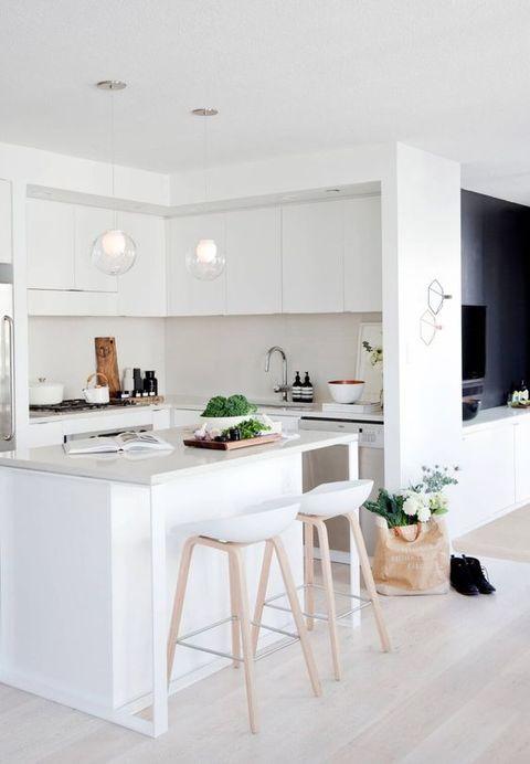 Cocinas decoradas en color blanco. Cocinas actuales