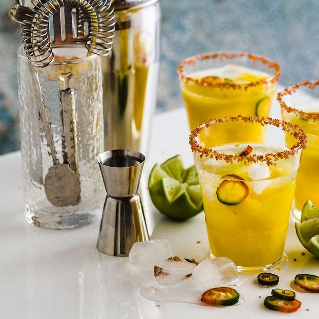 bar set with jalapeno margaritas